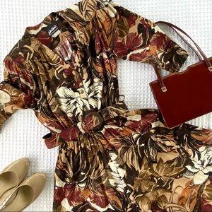 Vintage Botanical Print Fit & Flare Midi Dress